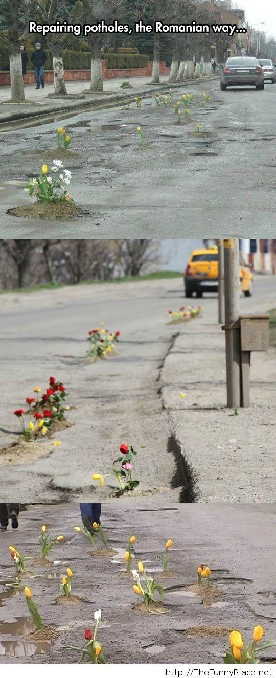 Potholes in Romania