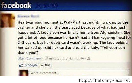 War story Facebook status