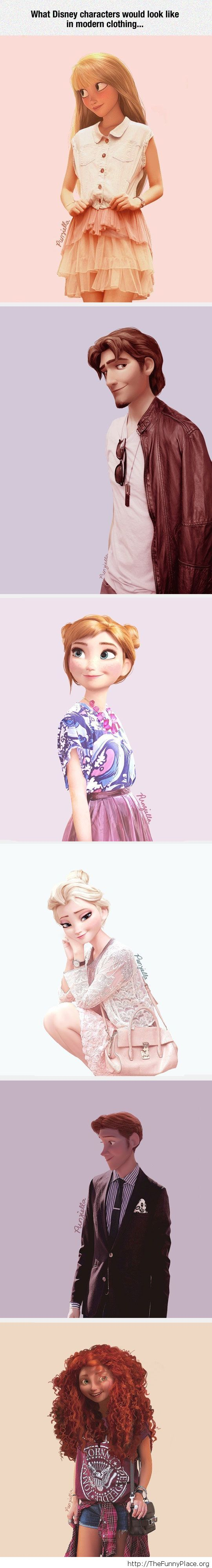 Disney characters in modern clothing Funny