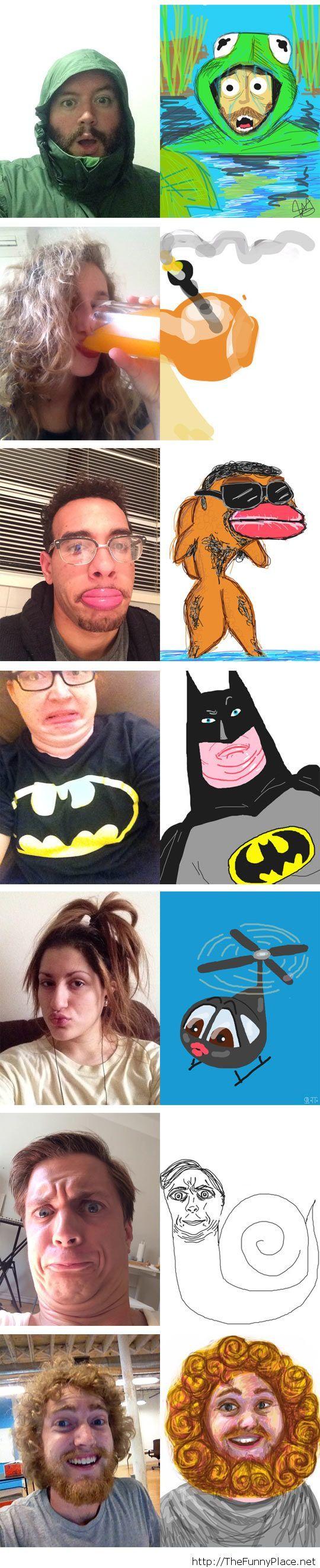 Funny drawn selfies