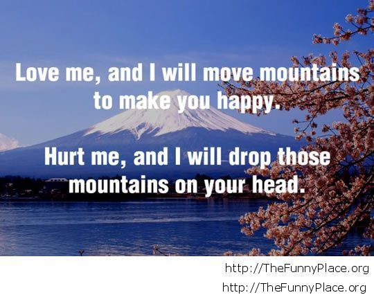 Funny love quote mountains