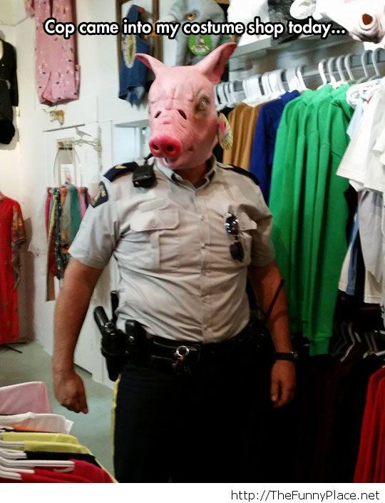 Hilarious cop with a mask