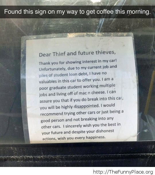 Message for thieves