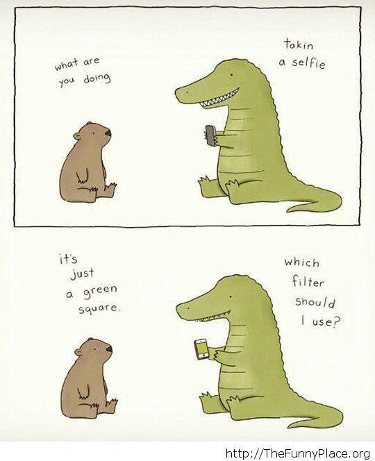 A crocodile taking a selfie