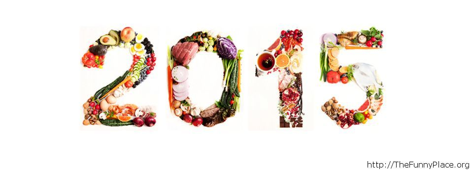 Funny 2015 wallpaper madeout of vegetables and fruits