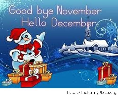 Funny snowman Goodbye November wallpaper
