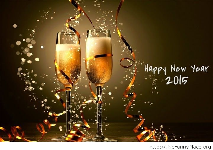 Happy New Year 2015 drinks greeting card
