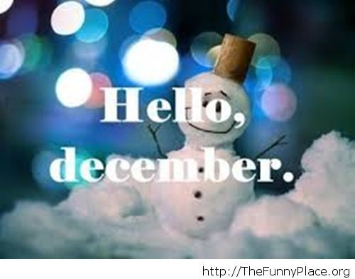 Happy little snowman Hello December wallpaper