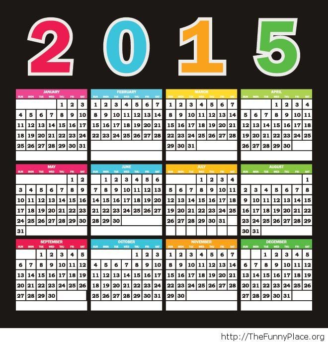 Colorful text 2015 calendar template