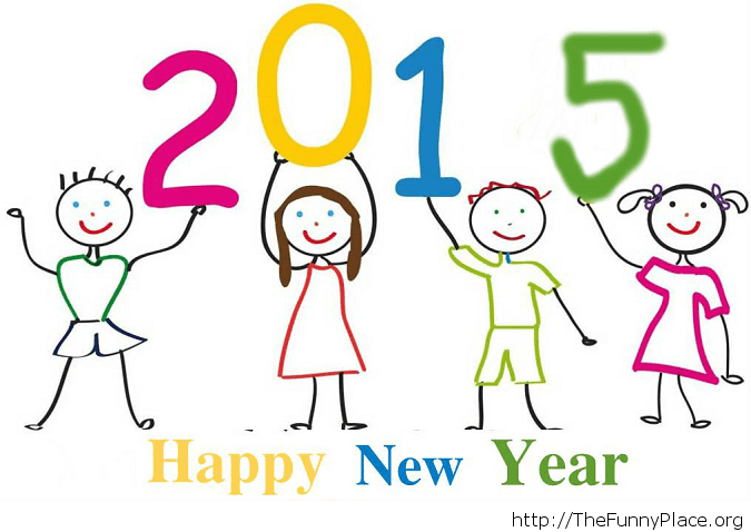 Cute New Year greetings card kids