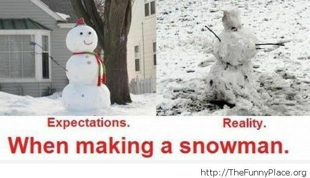 Expectations of making a snowman