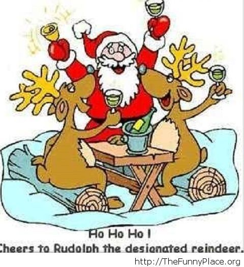 Funny Christmas cartoon Sanda and the reindeers image