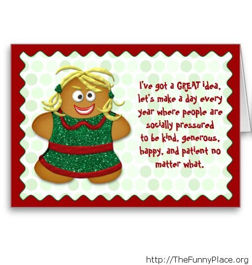 Funny cookie Christmas saying card