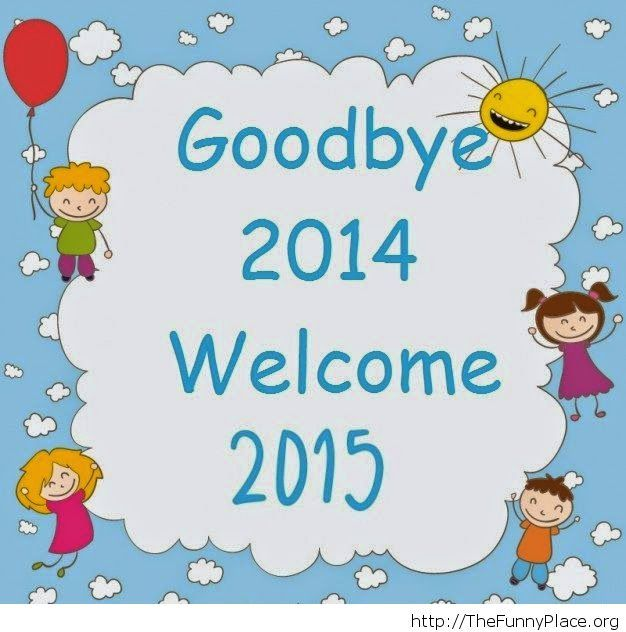Goodbye 2014 funny kids card image