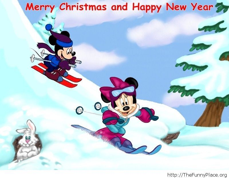 Mickey and Mini winter wallpaper