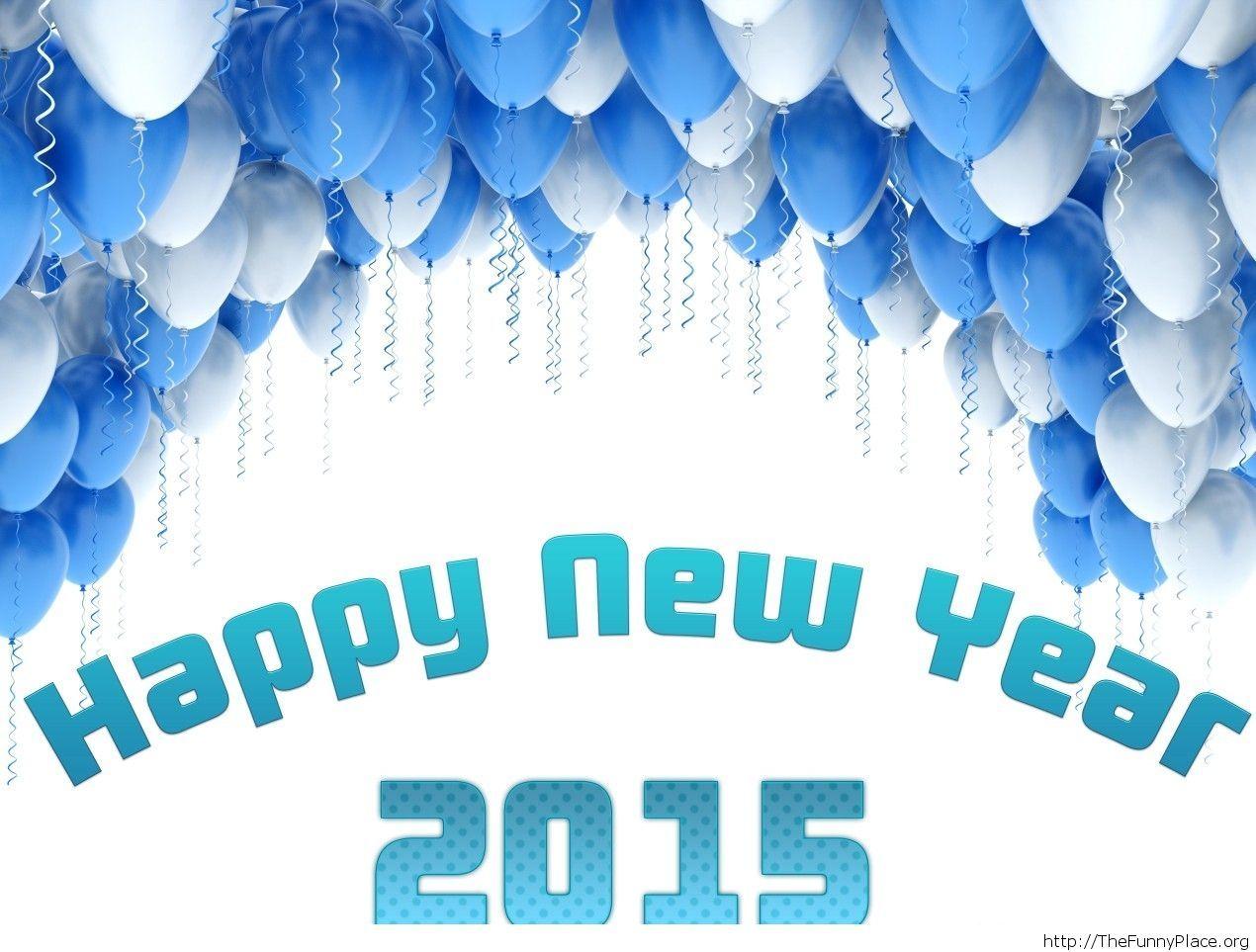 New Year 2015 wallpaper blue balloons
