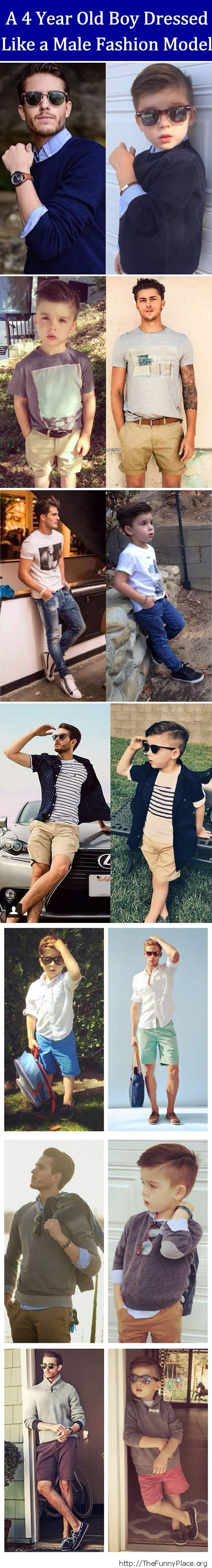 4 year old boy dressed like a male fashion model
