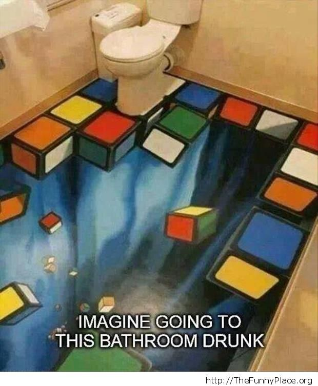 Bathroom without floor illusion