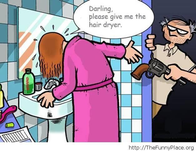 Give me the hair dryer cartoon joke