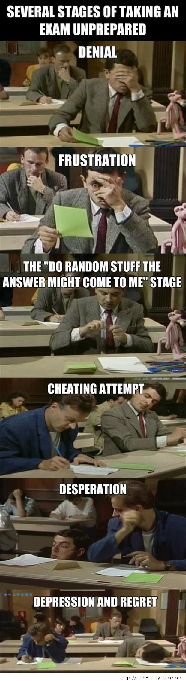 Taking an exam unprepared