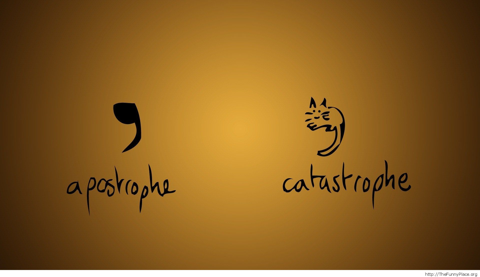 Apostrophe or catastrophe funny wallpaper