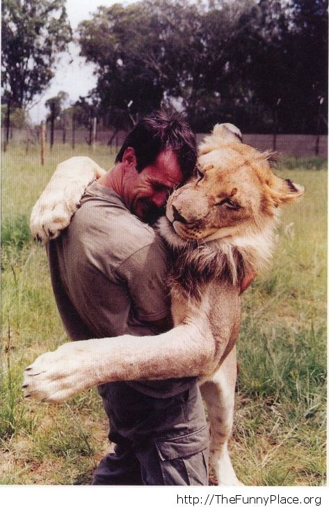 Awesome man with lion