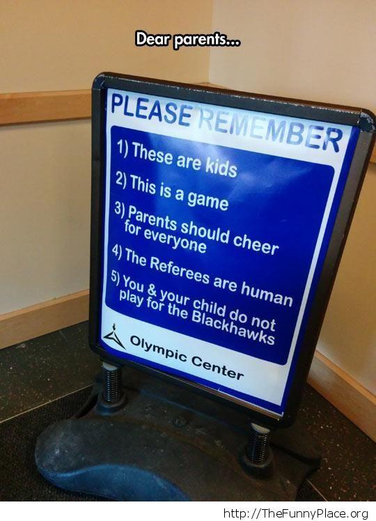 Dear Parents sign