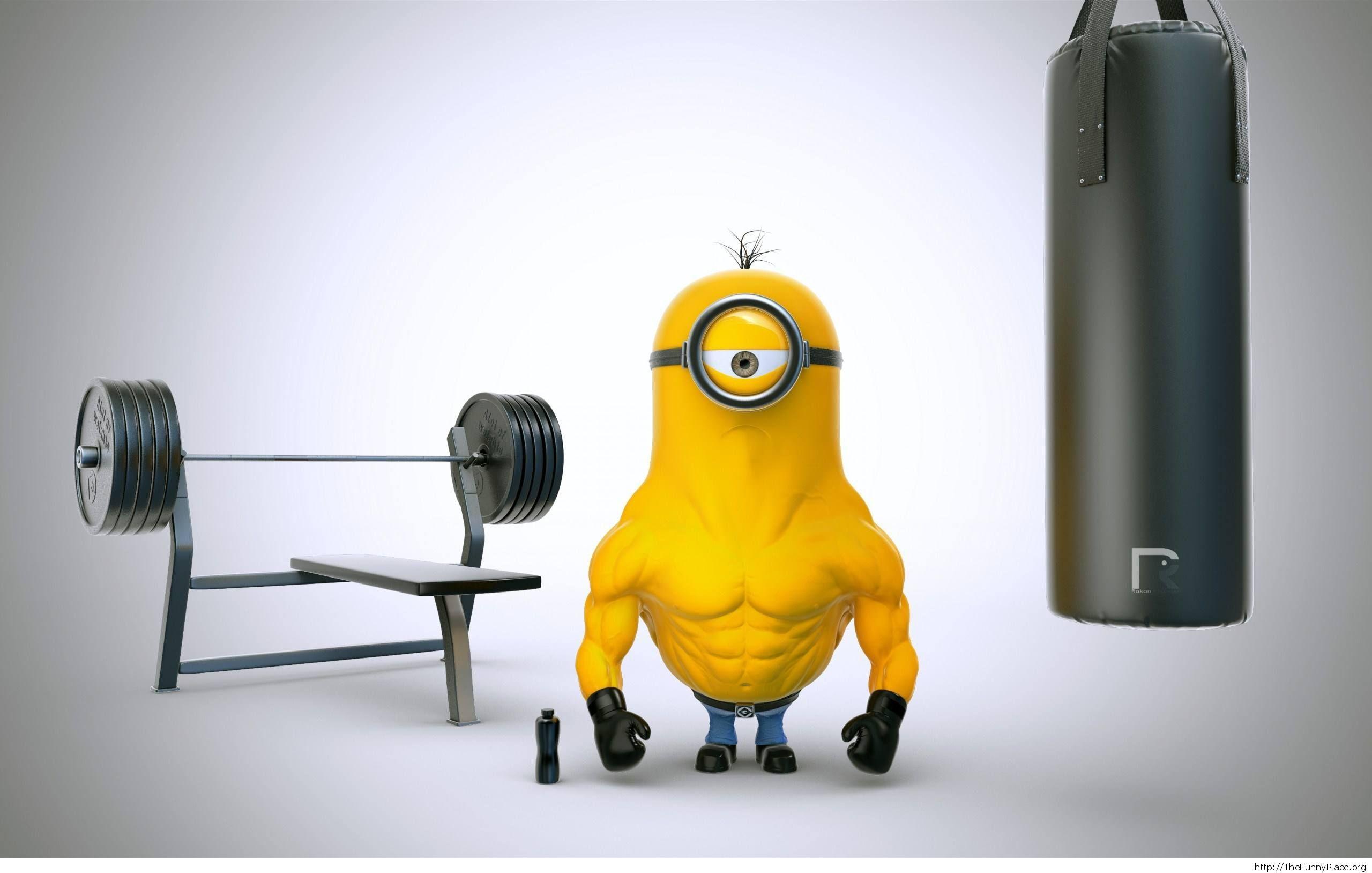 bodybuilder minion funny-wallpaper