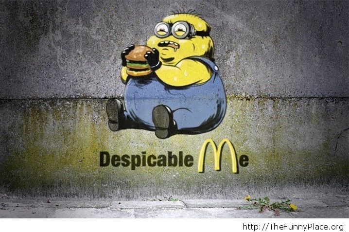 minion eating at Mc Donalds