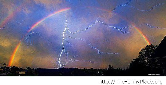 Awesome Lightning and Rainbow
