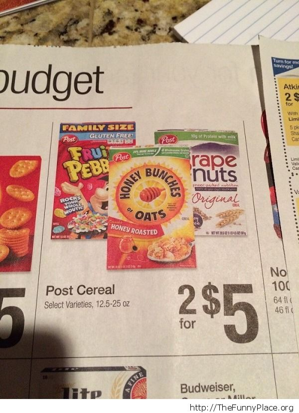 Grape Nuts should only be displayed in front