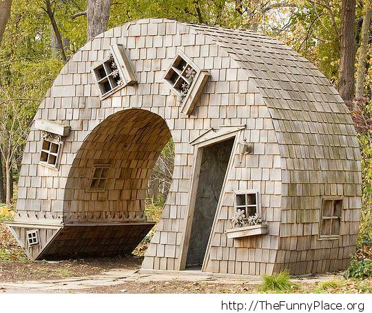 Funny cottage in the woods
