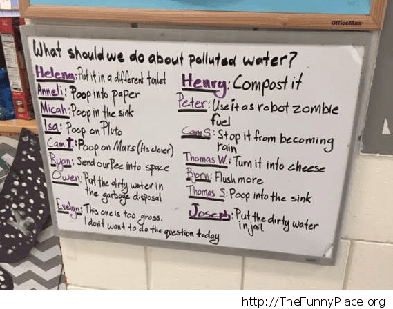 Preschoolers and polluted water