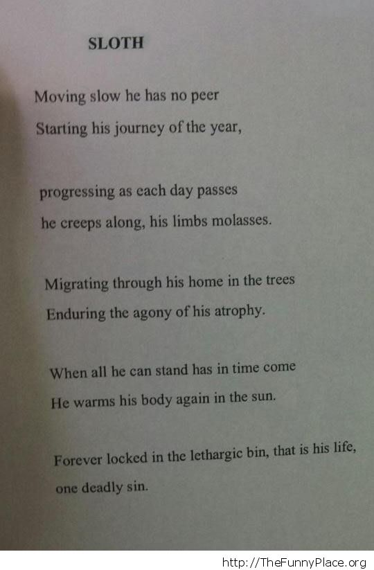 Sloth poetry