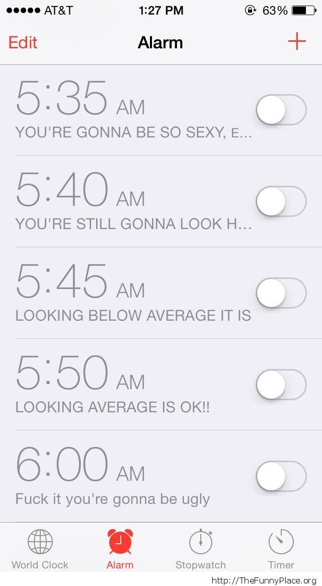 my wife's phone and her alarm clocks