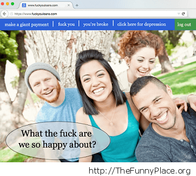 The homepage of every student loan website