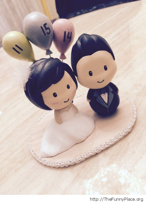 Cute wedding cake topper