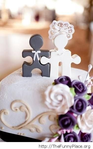 Puzzle pieces wedding cake topper