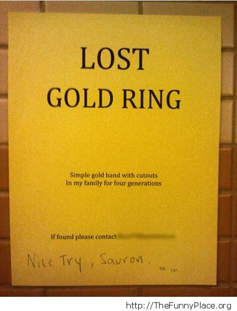 Lost gold ring